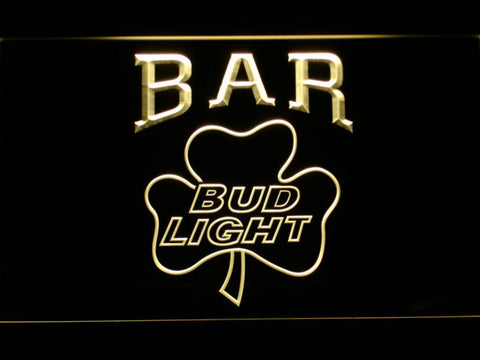 Image of Bud Light Shamrock Bar LED Neon Sign - Yellow - SafeSpecial