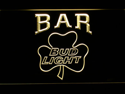 Bud Light Shamrock Bar LED Neon Sign - Yellow - SafeSpecial
