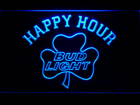 Bud Light Shamrock Happy Hour LED Neon Sign - Blue - SafeSpecial