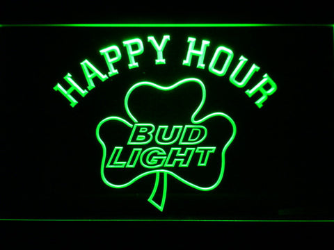 Image of Bud Light Shamrock Happy Hour LED Neon Sign - Green - SafeSpecial