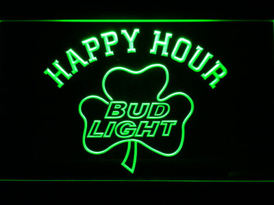 Bud Light Shamrock Happy Hour LED Neon Sign - Green - SafeSpecial