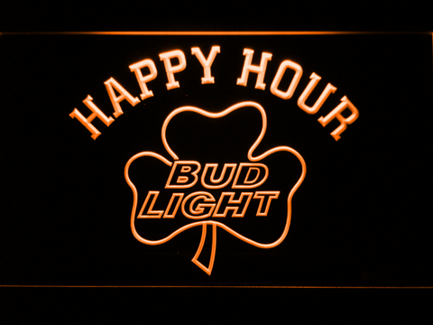 Bud Light Shamrock Happy Hour LED Neon Sign - Orange - SafeSpecial