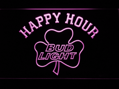 Image of Bud Light Shamrock Happy Hour LED Neon Sign - Purple - SafeSpecial