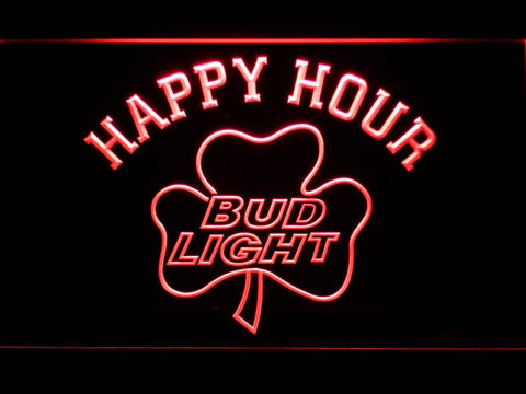 Bud Light Shamrock Happy Hour LED Neon Sign - Red - SafeSpecial