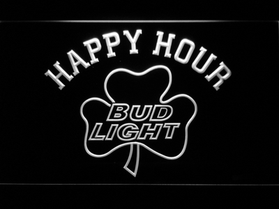 Bud Light Shamrock Happy Hour LED Neon Sign - White - SafeSpecial