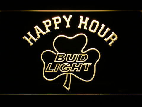 Image of Bud Light Shamrock Happy Hour LED Neon Sign - Yellow - SafeSpecial