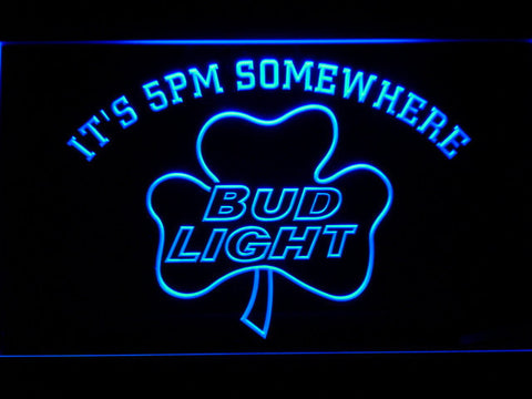 Bud Light Shamrock It's 5pm Somewhere LED Neon Sign - Blue - SafeSpecial