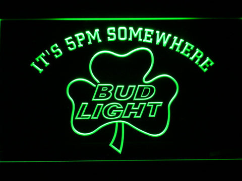 Bud Light Shamrock It's 5pm Somewhere LED Neon Sign - Green - SafeSpecial
