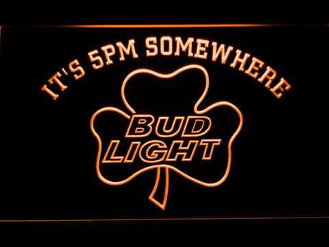 Bud Light Shamrock It's 5pm Somewhere LED Neon Sign - Orange - SafeSpecial