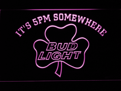 Bud Light Shamrock It's 5pm Somewhere LED Neon Sign - Purple - SafeSpecial