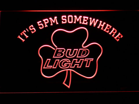 Bud Light Shamrock It's 5pm Somewhere LED Neon Sign - Red - SafeSpecial