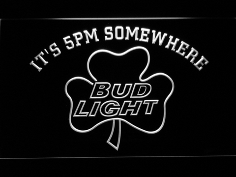 Bud Light Shamrock It's 5pm Somewhere LED Neon Sign - White - SafeSpecial