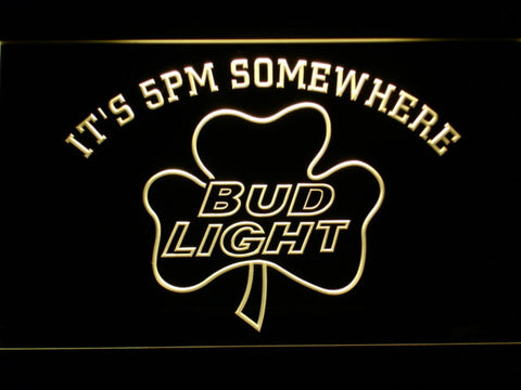 Bud Light Shamrock It's 5pm Somewhere LED Neon Sign - Yellow - SafeSpecial