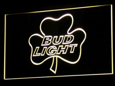 Bud Light Shamrock LED Neon Sign - Yellow - SafeSpecial