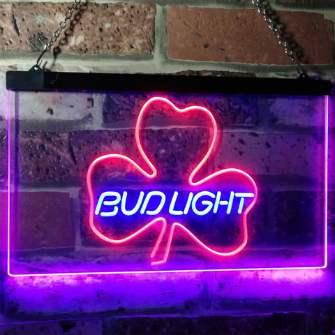 Bud Light Shamrock Neon-Like LED Sign - Dual Color - Blue and Red - SafeSpecial