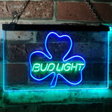 Bud Light Shamrock Neon-Like LED Sign - Dual Color - Green and Blue - SafeSpecial
