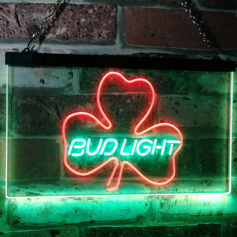 Bud Light Shamrock Neon-Like LED Sign - Dual Color - Green and Red - SafeSpecial