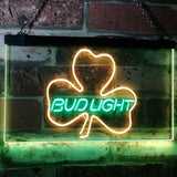 Bud Light Shamrock Neon-Like LED Sign - Dual Color - Green and Yellow - SafeSpecial