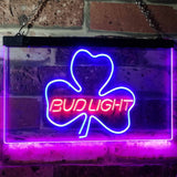 Bud Light Shamrock Neon-Like LED Sign - Dual Color - Red and Blue - SafeSpecial