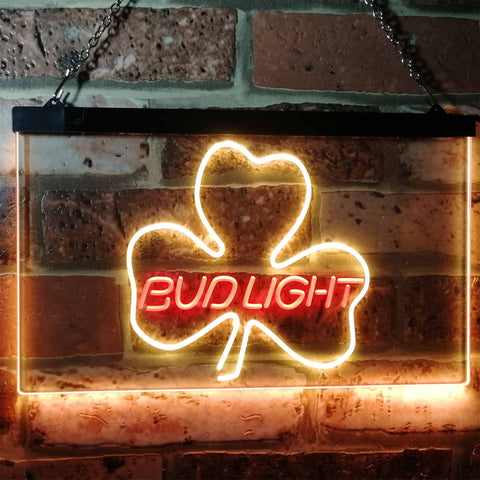 Bud Light Shamrock Neon-Like LED Sign - Dual Color - Red and Yellow - SafeSpecial