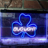 Bud Light Shamrock Neon-Like LED Sign - Dual Color - White and Blue - SafeSpecial
