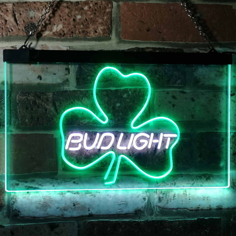 Bud Light Shamrock Neon-Like LED Sign - Dual Color - White and Green - SafeSpecial