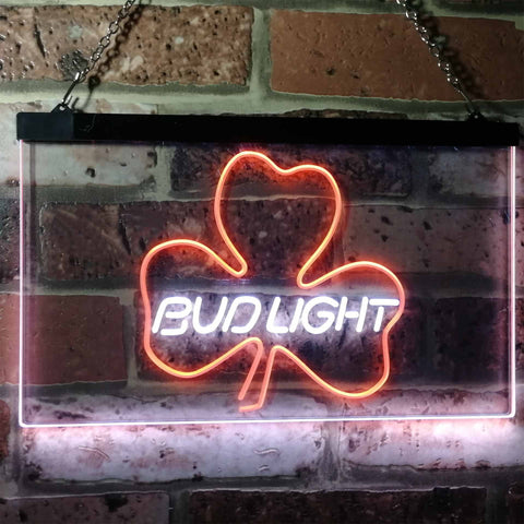 Bud Light Shamrock Neon-Like LED Sign - Dual Color - White and Orange - SafeSpecial