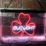 Bud Light Shamrock Neon-Like LED Sign - Dual Color - White and Red - SafeSpecial