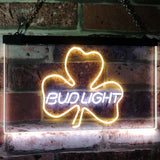 Bud Light Shamrock Neon-Like LED Sign - Dual Color - White and Yellow - SafeSpecial