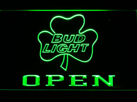 Image of Bud Light Shamrock Open LED Neon Sign - Green - SafeSpecial