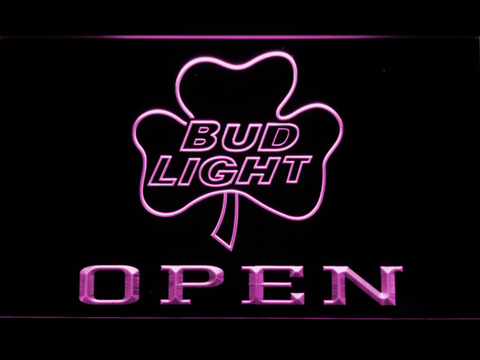 Image of Bud Light Shamrock Open LED Neon Sign - Purple - SafeSpecial