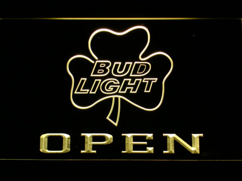 Image of Bud Light Shamrock Open LED Neon Sign - Yellow - SafeSpecial