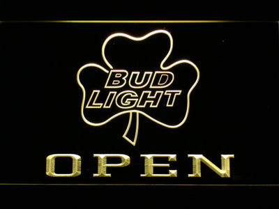 Bud Light Shamrock Open LED Neon Sign - Yellow - SafeSpecial
