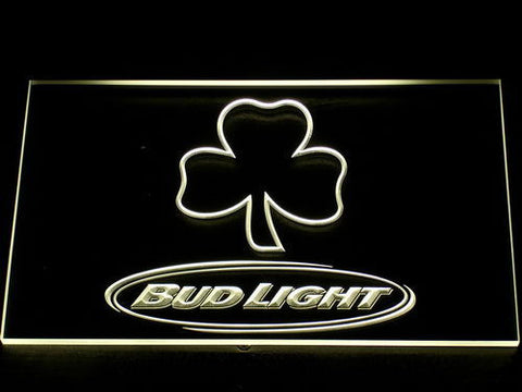 Image of Bud Light Shamrock Outline LED Neon Sign - Yellow - SafeSpecial
