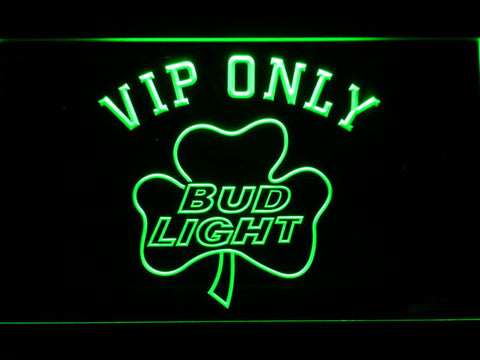 Bud Light Shamrock VIP Only LED Neon Sign - Green - SafeSpecial