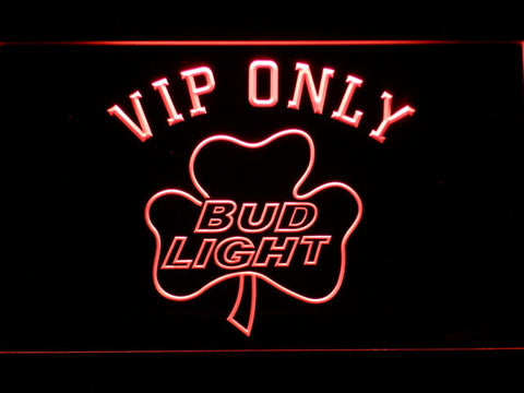 Bud Light Shamrock VIP Only LED Neon Sign - Red - SafeSpecial