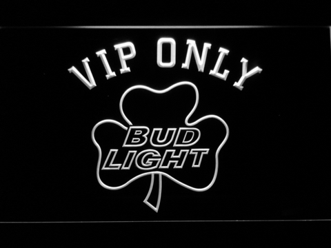Bud Light Shamrock VIP Only LED Neon Sign - White - SafeSpecial