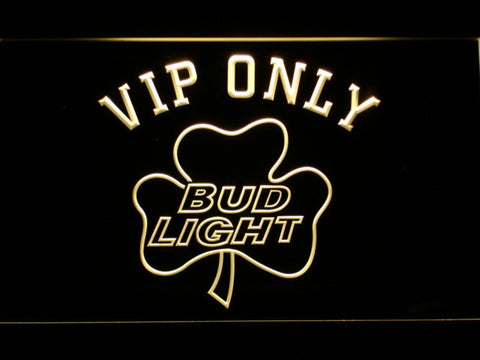 Bud Light Shamrock VIP Only LED Neon Sign - Yellow - SafeSpecial