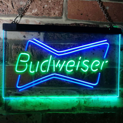 Budweiser 2 Neon-Like LED Sign - Dual Color - Green and Blue - SafeSpecial