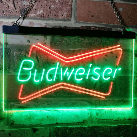 Budweiser 2 Neon-Like LED Sign - Dual Color - Green and Red - SafeSpecial