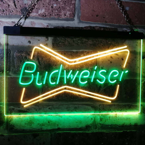 Budweiser 2 Neon-Like LED Sign - Dual Color - Green and Yellow - SafeSpecial
