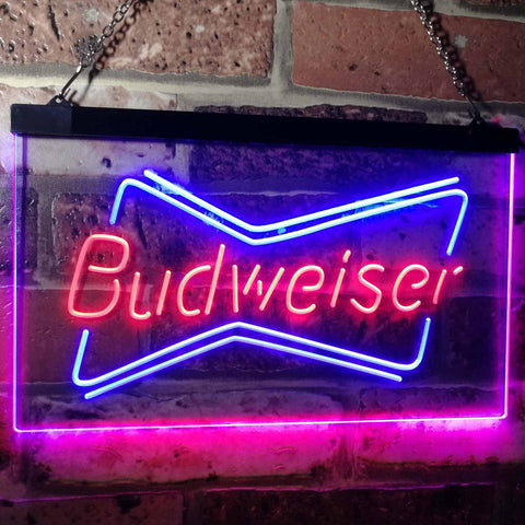 Budweiser 2 Neon-Like LED Sign - Dual Color - Red and Blue - SafeSpecial