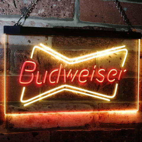 Budweiser 2 Neon-Like LED Sign - Dual Color - Red and Yellow - SafeSpecial
