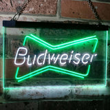 Budweiser 2 Neon-Like LED Sign - Dual Color - White and Green - SafeSpecial