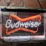 Budweiser 2 Neon-Like LED Sign - Dual Color - White and Orange - SafeSpecial