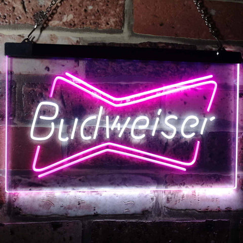 Budweiser 2 Neon-Like LED Sign - Dual Color - White and Purple - SafeSpecial