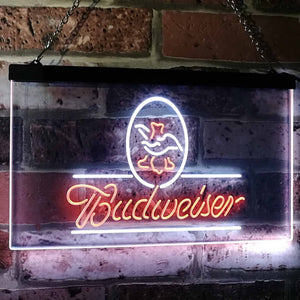 Budweiser AB Neon-Like LED Sign - Dual Color - White and Orange - SafeSpecial