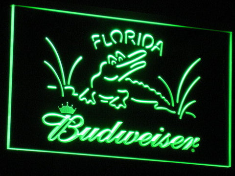 Budweiser Crocodile LED Neon Sign - Green - SafeSpecial