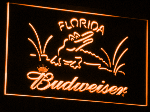Budweiser Crocodile LED Neon Sign - Orange - SafeSpecial