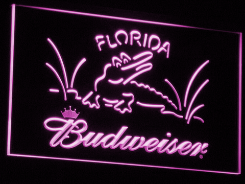 Budweiser Crocodile LED Neon Sign - Purple - SafeSpecial